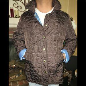 Coach Coat/Jacket. Brown outside, teal inside XL